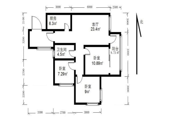 90㎡ 户型: 3室2厅 朝向: 南 北 楼层: 中楼层(共25楼) 小区: 沙河湾